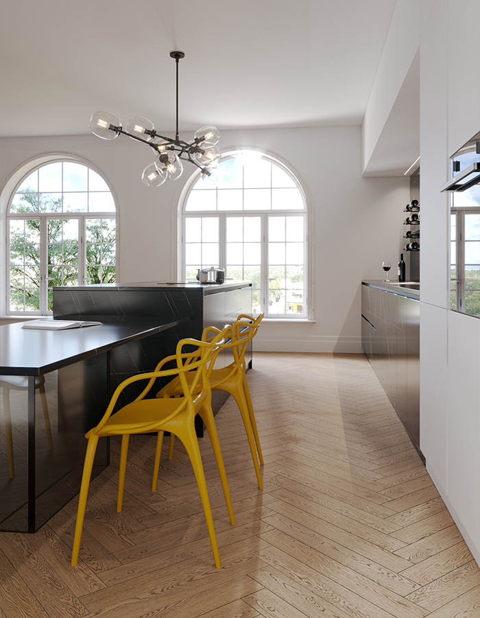 CERAMIC BLACK: Kitchen island with table, covered with porcelain slabs