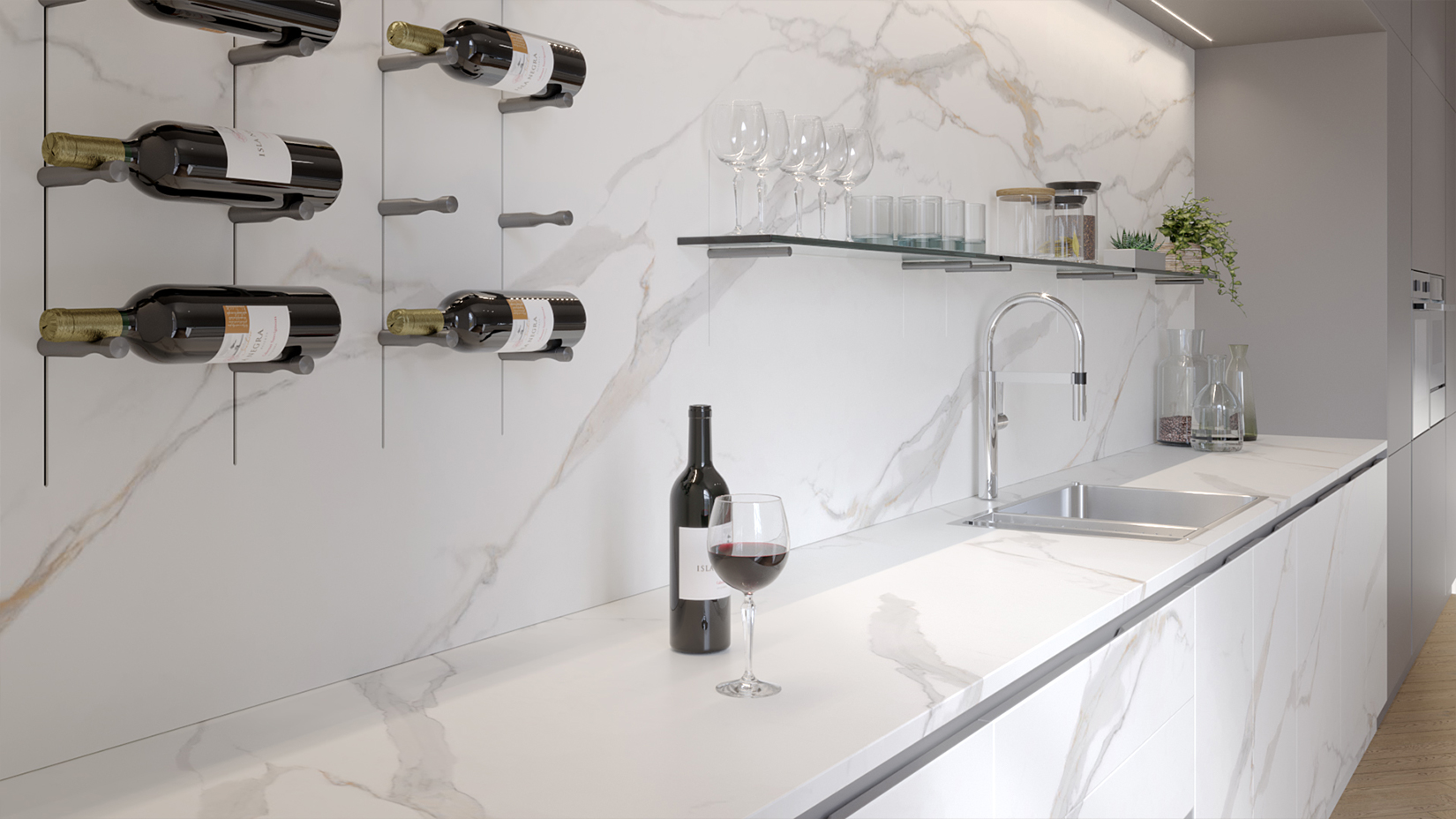 CERAMIC WHITE: PIN system for wine storage