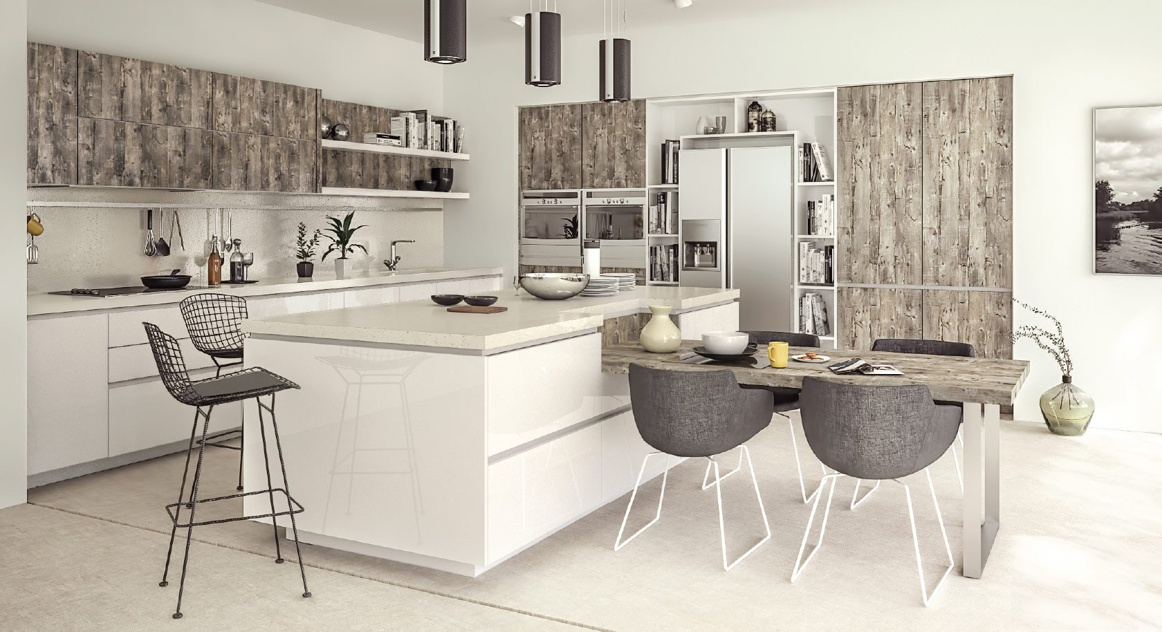 gola white  handle-less kitchen