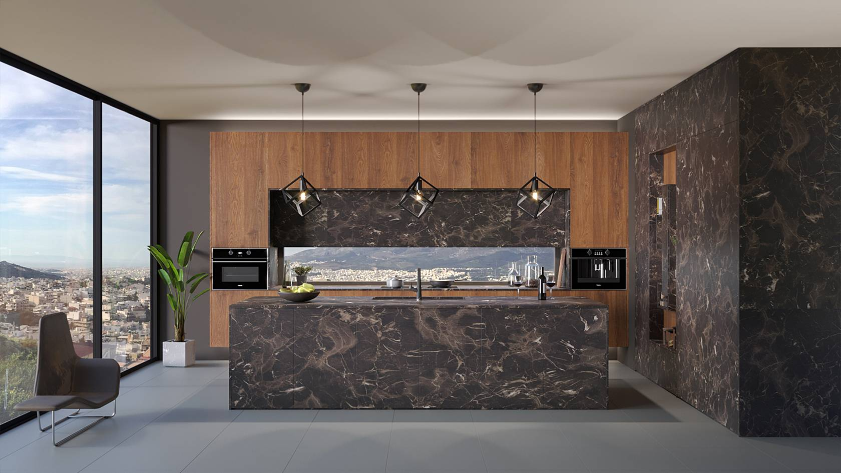 ELITON ROCK handleless kitchen in black marble with SYNCRO embossed wooden texture