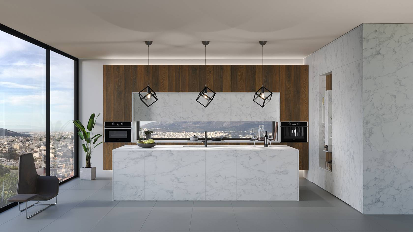 ELITON ROCK handleless kitchen in white marble with SYNCRO embossed wooden texture