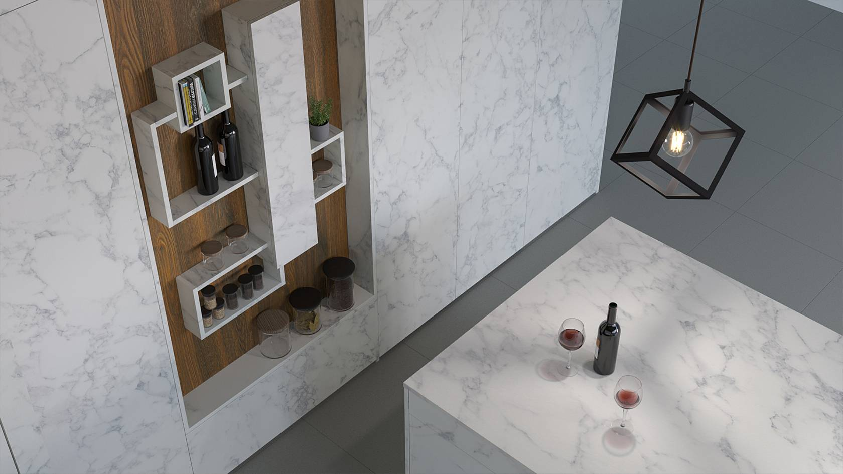 ELITON ROCK handleless kitchen: Hidden refrigerator space