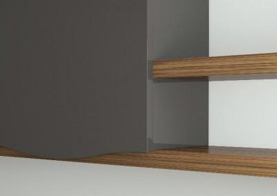 otzias wood: ξύλo teak σε συνδυασμό με γυαλιστερή λάκα
