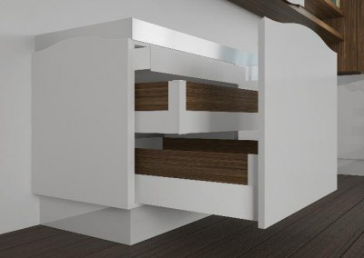otzias wood: ο εσωτερικός χώρος των μονάδων βάσης αξιοποιείται πλήρως με σειρά συρταριών για κάθε είδους χρήση