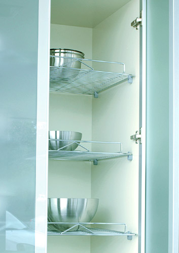 work: 460mm deep inner shelves in stainless steel finish